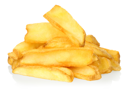 French fries on white background close-up