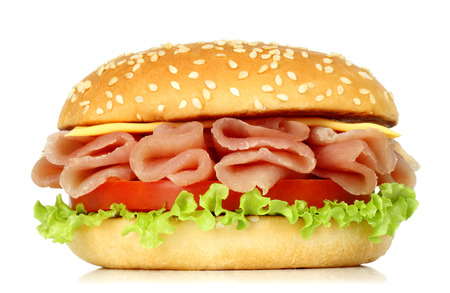 Big burger with twisted meat on white background Imagens - 113967061
