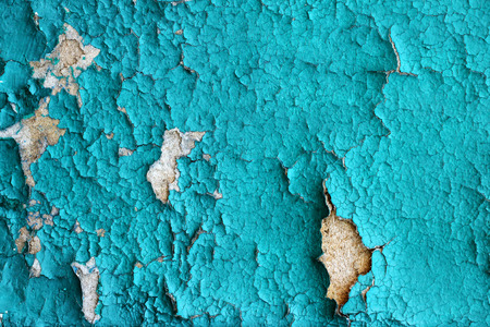 Texture background of old wooden board with blue peeling paint Imagens - 113967063