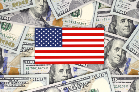 American flag on hundred bills background Imagens - 113967067