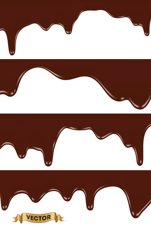 Set of melted chocolates dripping on white background, realistic vector illustration