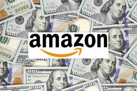 Kiev, Ukraine - September 07, 2018: Amazon logo printed on paper. Amazon is an American electronic commerce company Editorial