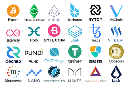 Set of logos popular cryptocurrencies with names of it, vector illustration Imagens - 114686960