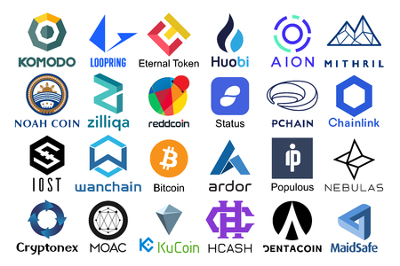 Set of logos popular cryptocurrencies with names of it, vector illustration