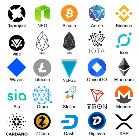 Set of logos popular cryptocurrencies with names of it, vector illustration Imagens - 114693741