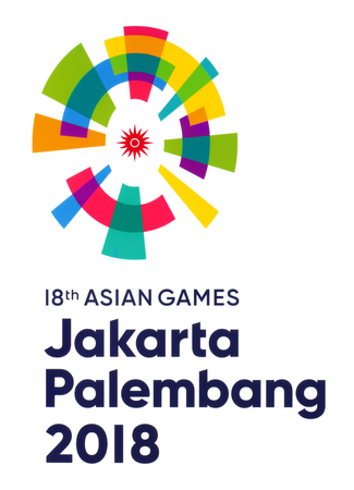 Kiev, Ukraine - October 09, 2018: The 18th Asian Games emblem printed on paper, Jakarta–Palembang 2018, was a pan-Asian multi-sport event held from 18 August to 2 September 2018