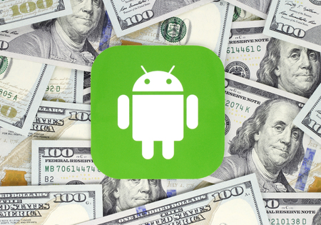 Kiev, Ukraine - September 18, 2018: Android icon printed on paper. Android is a mobile operating system developed by Google