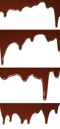 Melted chocolate dripping set on white background close-up