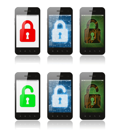 Set of smartphones with interface designs showing cyber security concept, on white background Imagens - 113967162