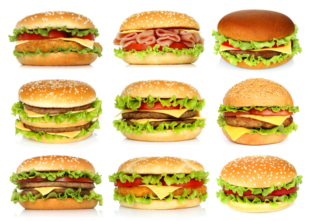 Big hamburgers set on white background close-up Imagens - 113967161