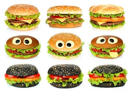 Big hamburgers set on white background close-up Imagens - 113967163