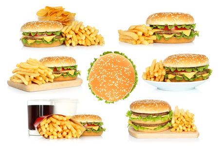Set of hamburgers, french fries and chips with cola on white background Imagens - 113967165
