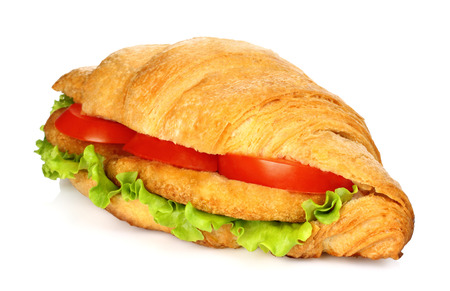 Big croissant with vegetables and chicken meat on white background Imagens - 113967168