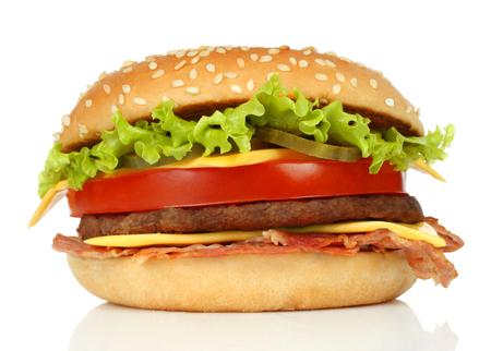 Big hamburger on white background close-up Imagens - 113967269