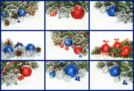 Collage of Christmas compositions with decorations, presents and snow close-up Imagens - 113967272