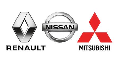 Kiev, Ukraine - October 22, 2018: Logos of car manufacturers alliance: Renault, Nissan, Mitsubishi, printed on white paper Editorial