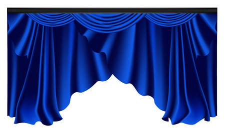 Blue luxury curtains and draperies on white background, realistic vector illustration Imagens - 113967281