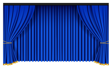Blue luxury curtains and draperies on white background, realistic vector illustration Imagens - 113967279