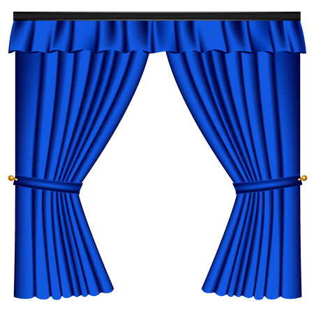 Blue luxury curtains and draperies on white background, realistic vector illustration Imagens - 113967282