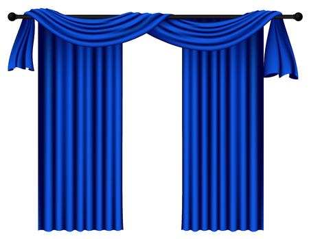 Blue luxury curtains and draperies on white background, realistic vector illustration Imagens - 113967285