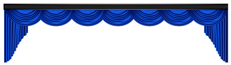 Blue luxury curtains and draperies on white background, realistic vector illustration Imagens - 113967290