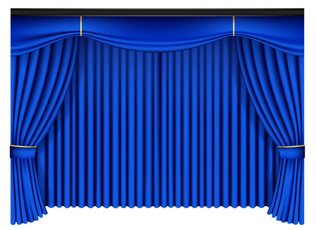 Blue luxury curtains and draperies on white background, realistic vector illustration