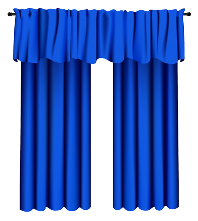Blue luxury curtains and draperies on white background, realistic vector illustration Imagens - 113967292