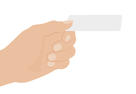 Hand holding white card, isolated on white background. Flat design vector illustration