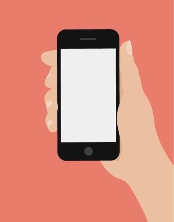 Hand holding smart phone on red background. Flat design vector illustration