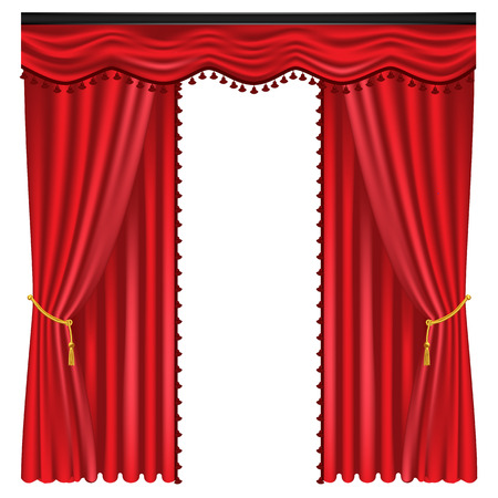Red luxury curtains and draperies on white background, realistic vector illustration Imagens - 113967295
