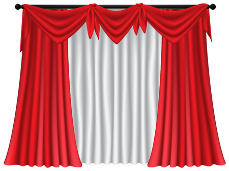 Red luxury curtains and draperies on white background, realistic vector illustration Imagens - 113967469