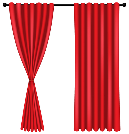 Red luxury curtains and draperies on white background, realistic vector illustration