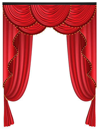 Red luxury curtains and draperies on white background, realistic vector illustration Imagens - 113967475