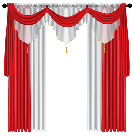 Red luxury curtains and draperies on white background, realistic vector illustration Imagens - 113967474