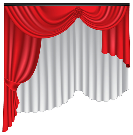 Red luxury curtains and draperies on white background, realistic vector illustration Imagens - 113967473