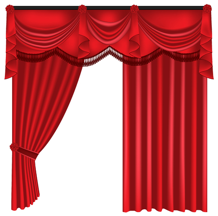 Red luxury curtains and draperies on white background, realistic vector illustration Imagens - 113967476