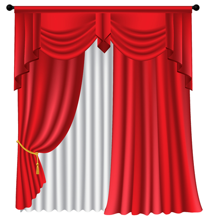 Red luxury curtains and draperies on white background, realistic vector illustration Imagens - 113967478