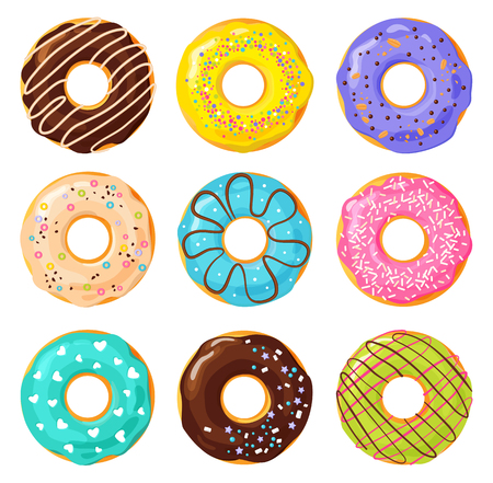 Set of colorful donuts on white background, flat vector illustration