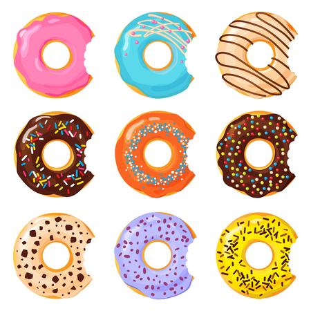 Set of colorful bitten donut on white background, flat vector illustration Ilustração