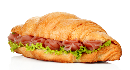 Big croissant with green salad and pork meat on white background Imagens - 116634223
