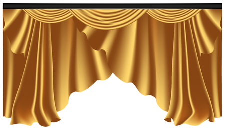 Yellow luxury curtains and draperies on white background, realistic vector illustration Imagens - 117235533