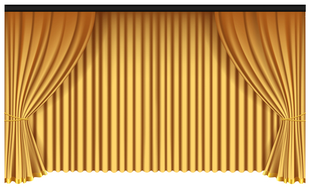 Yellow luxury curtains and draperies on white background, realistic vector illustration Imagens - 117235534