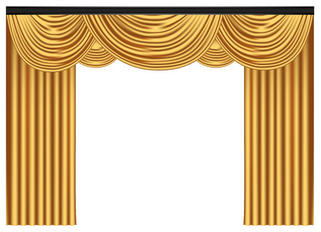 Yellow luxury curtains and draperies on white background, realistic vector illustration Imagens - 117235536