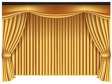 Yellow luxury curtains and draperies on white background, realistic vector illustration