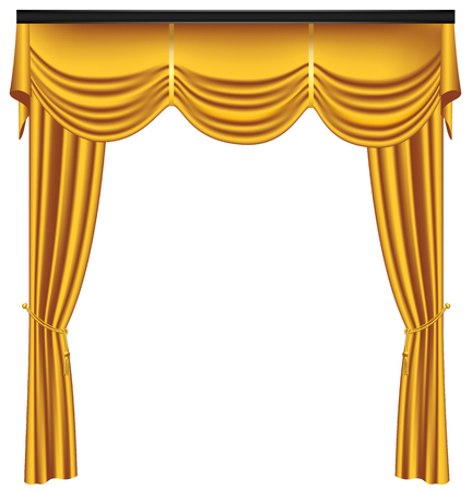 Yellow luxury curtains and draperies on white background, realistic vector illustration Imagens - 117235553