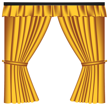 Yellow luxury curtains and draperies on white background, realistic vector illustration Imagens - 117235554