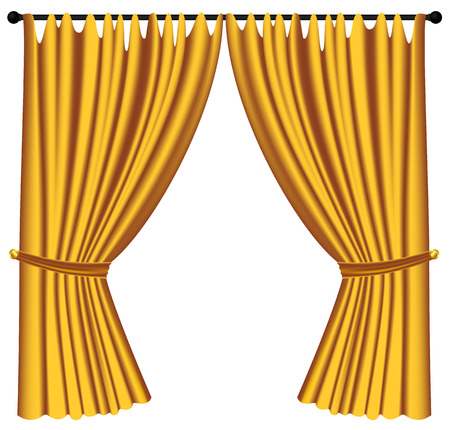 Yellow luxury curtains and draperies on white background, realistic vector illustration Imagens - 117235556