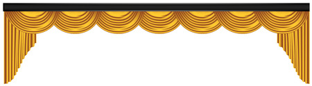 Yellow luxury curtains and draperies on white background, realistic vector illustration Imagens - 117235557