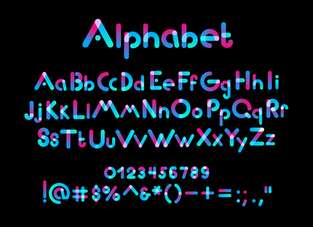 Color alphabet font. Color uppercase, lowercase letters and numbers on black background, vector illustration
