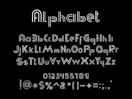 White alphabet font. White uppercase, lowercase letters and numbers on black background, vector illustration Ilustrace